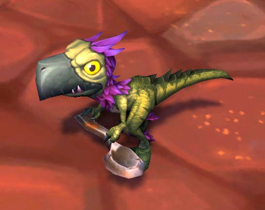 Falcosaur hatchling with toy spoon